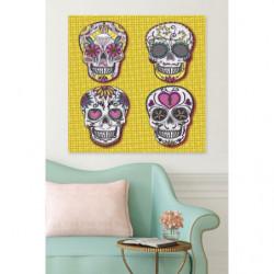 Tableau original 4 têtes de mort sur fond jaune