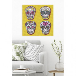 Original painting 4 skulls on a yellow background
