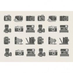Tableau mural vintage illustration d'appareil photo ancien