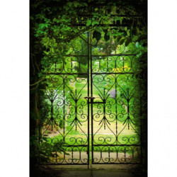 Papier peint trompe l'oeil jardin vert