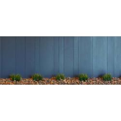 Brise vue trompe l'oeil palissade bleue en bois
