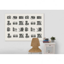 Vintage wall canvas print with old camera illustration