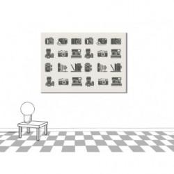 Gráfico mural vintage con ilustración de cámara antigua