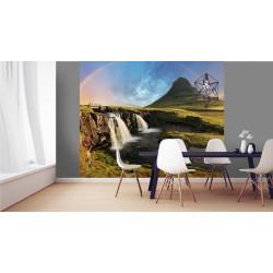 Papier peint paysage d'Islande avec un volcan et un arc-en-ciel
