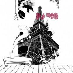 Papier peint design La Tour Eiffel noir et blanc