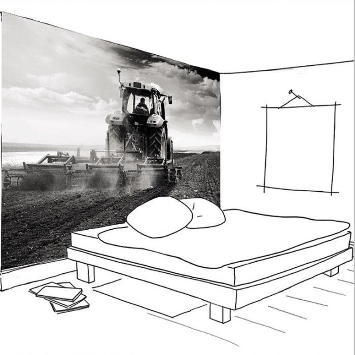 unique papier peint chambre ado. Black Bedroom Furniture Sets. Home Design Ideas