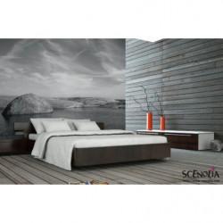 Póster de paisaje zen en blanco y negro