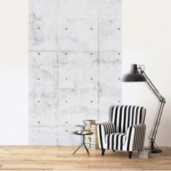 Tenture murale trompe l'oeil béton gris et brut