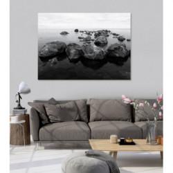 Pintura zen paisaje tranquilo blanco y negro