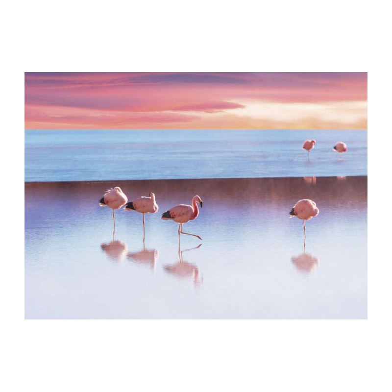 LAKE WITH THE PINK FLAMINGOS Canvas print