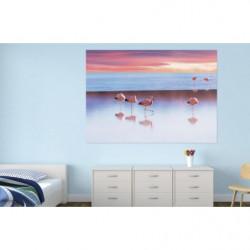 Poster géant lac aux flamants roses au coucher du soleil