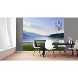 Papier peint panoramique paysage d'un banc au bord du lac
