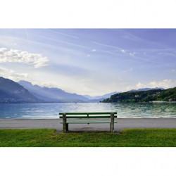 Póster paisaje lago azul