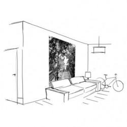 Papier peint vertical trompe l'oeil escaliers noir et blanc