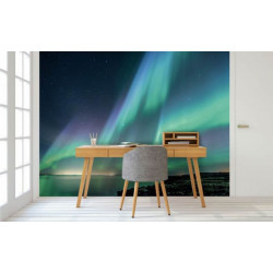 Papier peint panoramique photo d'une aurore boréale