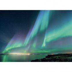 Tableau aurore boréale grand format ciel vert et bleu