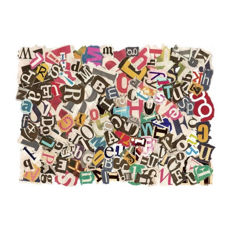 Tableau d co plexi typographie lettres coll es for Cadre photo design mural