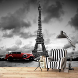 Papier peint voiture rouge à Paris