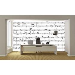 Poster panoramique notes de musique sur partition noir et blanche