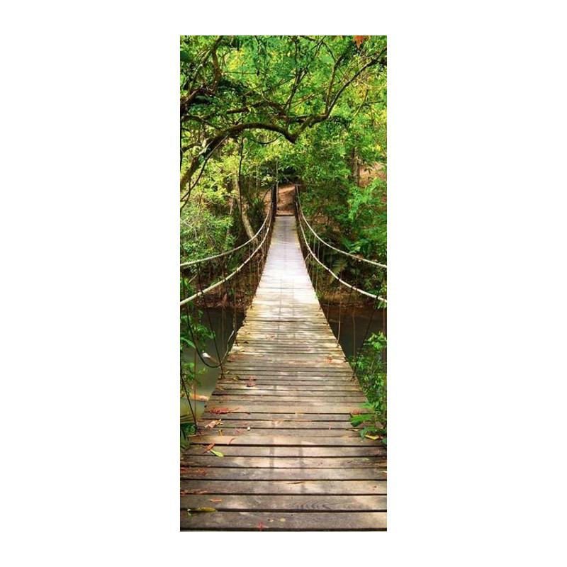 Déco Porte Trompe Loeil Pont Suspendu Passage Vers La Jungle - Poster porte