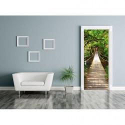 Poster de porte jungle trompe l'oeil pont suspendu