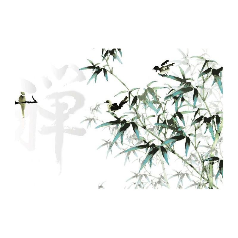 Papier peint calligraphie v g tale et petits oiseaux en for Idee deco 4 murs