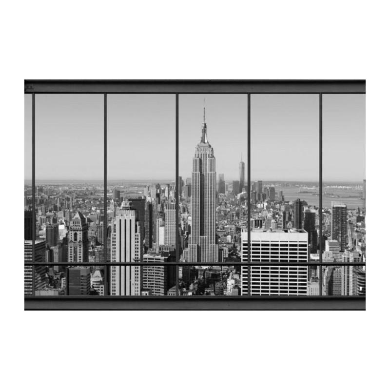 Vue de new york en noir et blanc papier peint mural scenolia for Papier peint blanc noir