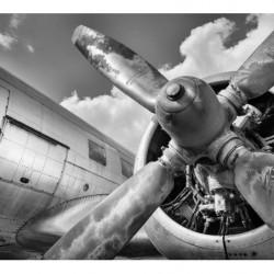 Papier peint panoramique avion noir et blanc