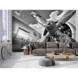 Poster panoramique avion noir et blanc