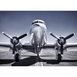 Tableau avion à hélices bleu et gris