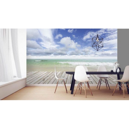 WOODEN PLANKS AND SEA Poster