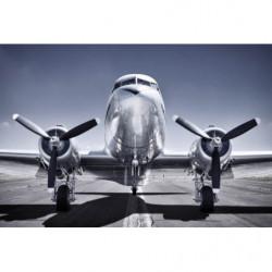 Poster géant avion à hélices gris et bleu