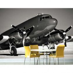 Poster avion Douglas DC3 photo panoramique noir et blanc