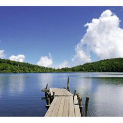 Poster paysage lac bleu avec ponton