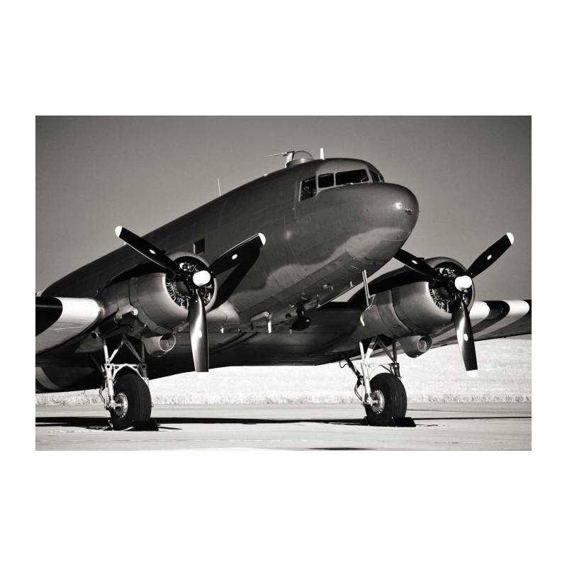 avion douglas dc3 poster d 39 une photo en noir et blanc d. Black Bedroom Furniture Sets. Home Design Ideas