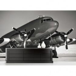 Tapisserie panoramique avion Douglas DC3 noir et blanc