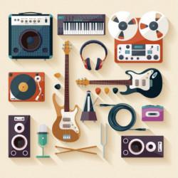 Tableau illustration d'instruments de musique