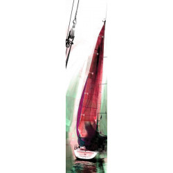 Lé de papier peint voilier en aquarelle rose