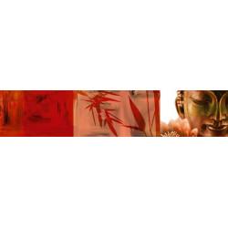 Brise vue zen imprimé Bouddha rouge et bambou