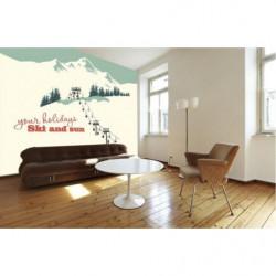 Papier peint panoramique station de ski vintage