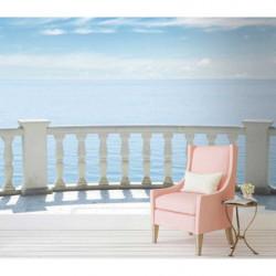 Papier peint trompe l'oeil balcon sur la mer