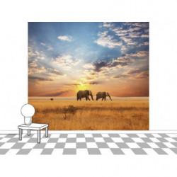 Papier peint panoramique savane aux éléphants