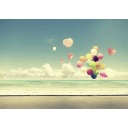 Tableau romantique ballons sur la plage