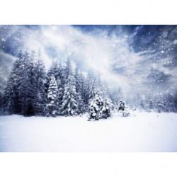 Tableau paysage de Noël foret sous la neige