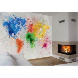 Papier peint carte du monde colorée effet peinture