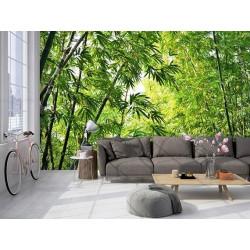 Papier peint végétal bambous verts