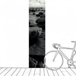 Lé unique de papier peint paysage noir et blanc zen