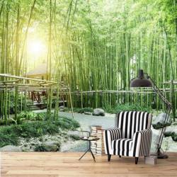 Poster panoramique bambous verts pour déco murale zen