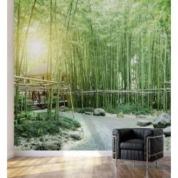 Papier peint paysage panoramique aux bambous zen