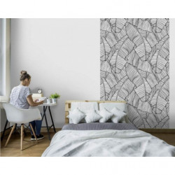 Tenture murale motif jungle noir et blanc